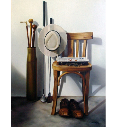 Golf clubs and Chair